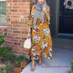 2020 Tesettür Elbise Modelleri Sarı Uzun Kolları Fırfırlı Çiçek Desenli