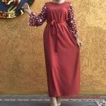 2020 Tesettür Elbise Modelleri Tarçın Uzun Belden Kumaş Bağcıklı Kolları Dantel Detaylı