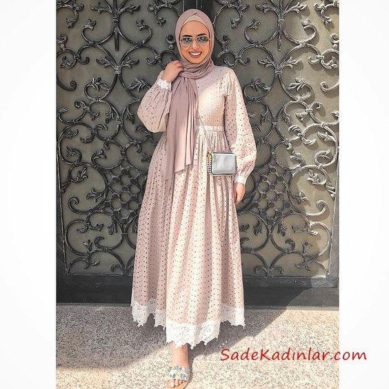 e185c6826485e 2019 Tesettür Elbise Modelleri Vizon Uzun Kloş Etekli Etek Kısmı Dantel  Detaylı. «