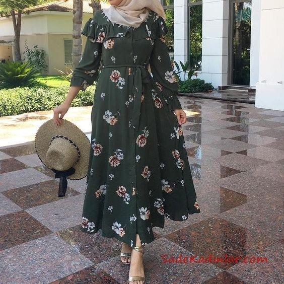 2019 Tesettür Elbise Modelleri Yeşil Uzun Önden Düğmeli Kloş Etekli Çiçek Desenli