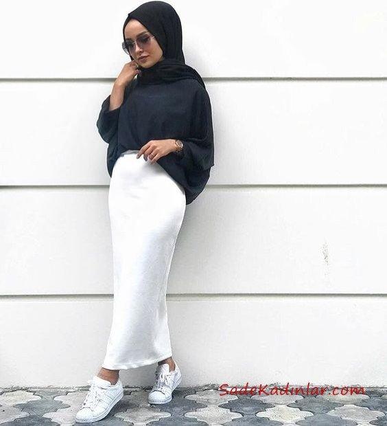 2019 Tesettür Etek Kombinleri Beyaz Uzun Dar Etek Siyah Salaş Gömlek