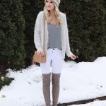 2019 Trend Kombinler Beyaz Skinny Pantolon Gri Bluz Gri Örgü Hırka