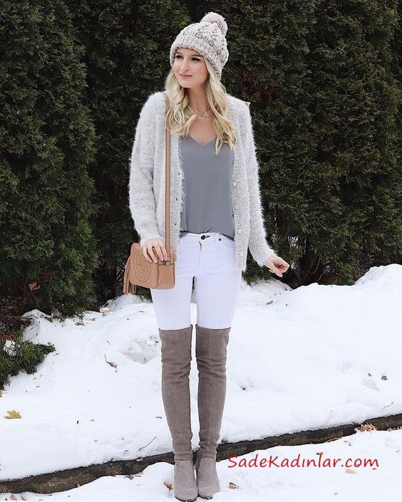 2019/2020 Sonbahar Kış Bayan Kombin Önerileri Beyaz Skinny Pantolon Gri Bluz Gri Örgü Hırka