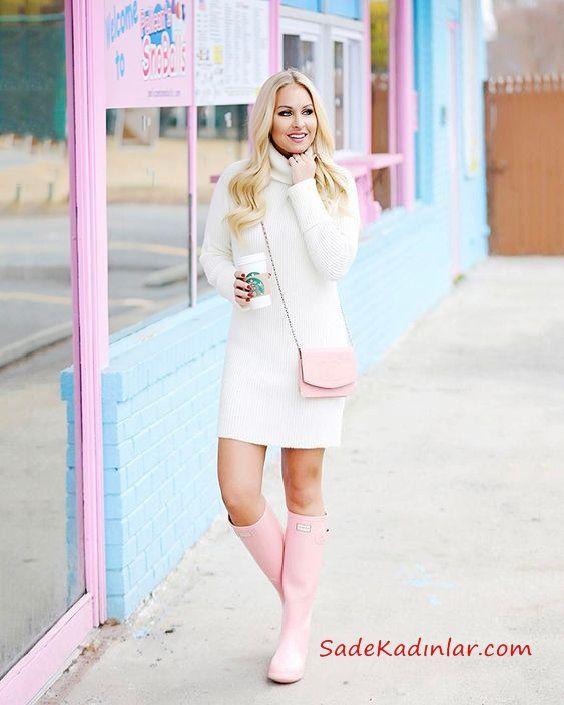 2019 Trend Kombinler Krem Kısa Boğazlı Sade Triko Elbise