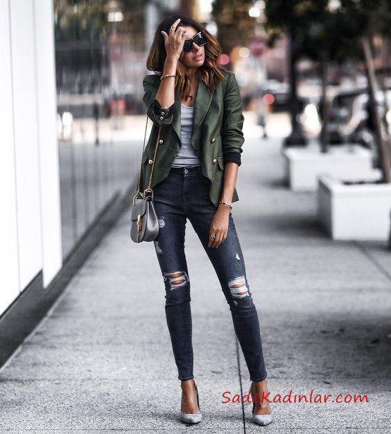 2019 Trend Kombinler Lacivert Yırtık Kot Pantolon Gri Bluz Yeşil Kısa Deri Ceket