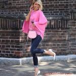 2019/2020 Sonbahar Kış Bayan Kombin Önerileri Lacivert Yüksel Bel Kot Pantolon Pembe Yarasa Kol Bluz