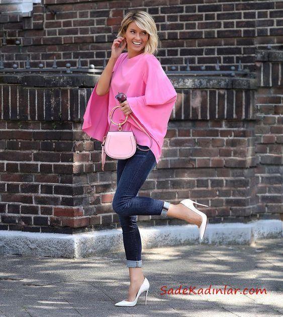 2019 Trend Kombinler Lacivert Yüksel Bel Kot Pantolon Pembe Yarasa Kol Bluz