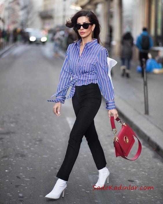 2019 Trend Kombinler Siyah Kalem Pantolon Mavi Bağcıklı Çizgili Gömlek
