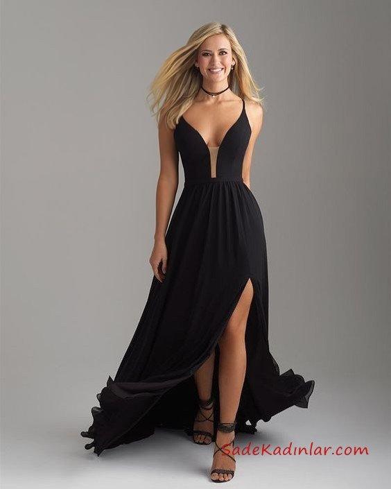 2019 Uzun Abiye Modelleri Siyah Uzun Askılı Göğüs Dekolteli Yırtmaçlı Kloş