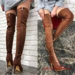 2019 Uzun Çizme Modelleri Kahverengi Stiletto Önden Bağcıklı Fermuarlı