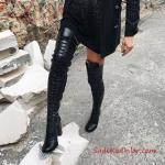 2019 Uzun Çizme Modelleri Siyah Deri Kalın Topuklu Bağcıklı