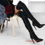 2019 Uzun Çizme Modelleri Siyah Nubuk Stiletto Metal Aksesuarlı