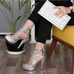 2019 Yazlık Topuklu Ayakkabı Modelleri Gümüş Bantlı Arkadan Fermuarlı