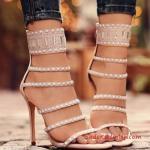 2019 Yazlık Topuklu Ayakkabı Modelleri Pudra İnce Bantlı Arkadan Fermuarlı