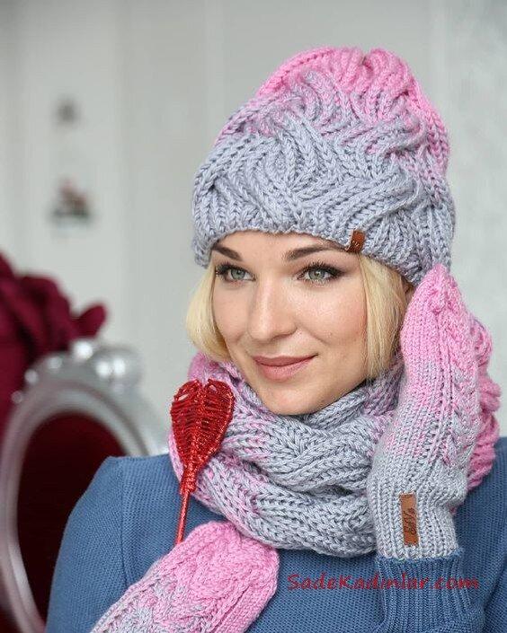 2020 Kış Modası; Atkı Bere Modelleri Gri ve Pembe Örnekli Ombre