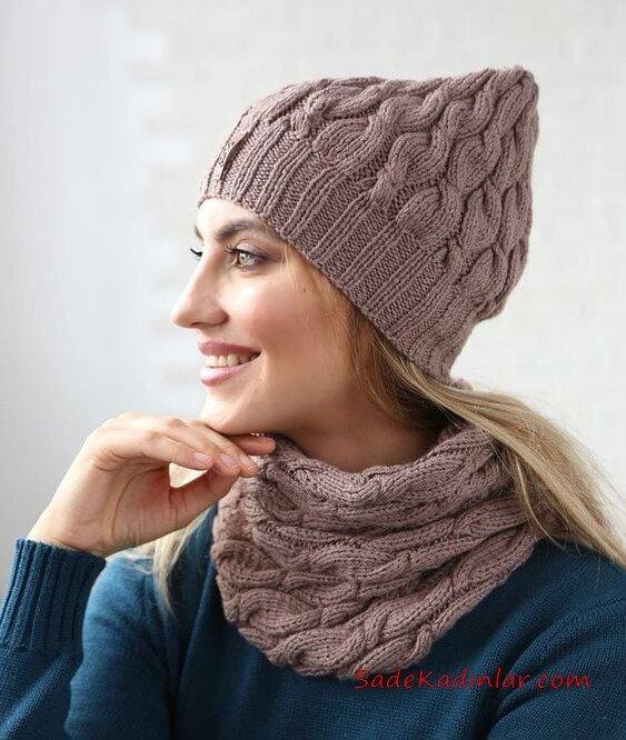 2020 Bayan Kış Modası; Atkı Bere Modelleri Kahverengi Saç Örgü Örnekli