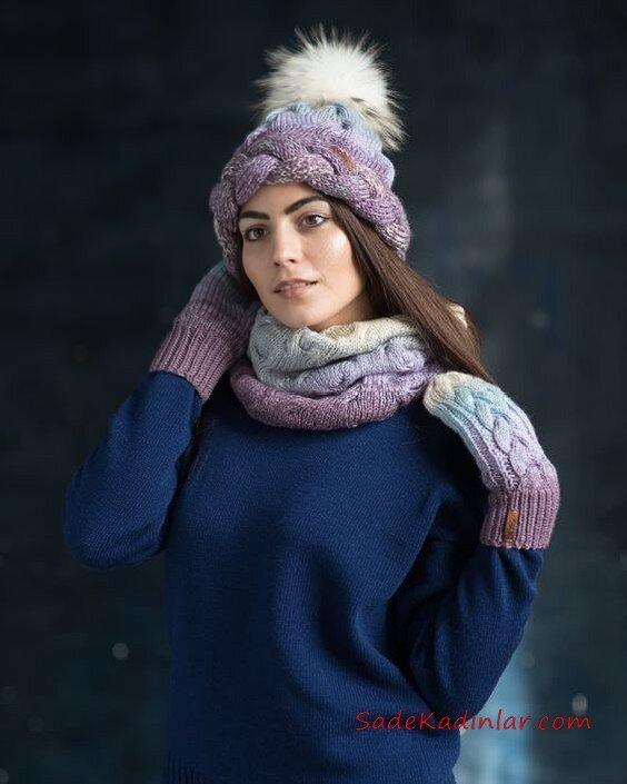 2020 Bayan Kış Modası; Atkı Bere Modelleri Mor Mavi Ombre Tay Tüyü Ponponlu