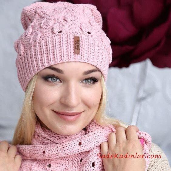 2020 Bayan Kış Modası; Atkı Bere Modelleri Pembe Yaprak Örnekli