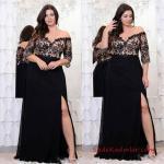 Büyük Beden Gece Kıyafetleri 2019 Dantel Detaylı Siyah Uzun V Yakalı Yetim Kol Yırtmaçlı Abiye