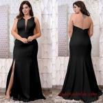 Büyük Beden Gece Kıyafetleri 2019 Siyah Uzun Kolsuz Yırtmaçlı Yala Sırt Dekolteli Abiye