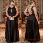 Büyük Beden Gece Kıyafetleri 2019 Uzun Siyah Kolsuz Sırt Dekolteli Kloş Etekli Abiye