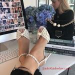 Jımmy Choo Abiye İçin Topuklu Ayakkabı Beyaz İnci İşlemeli Bilekten Tokalı
