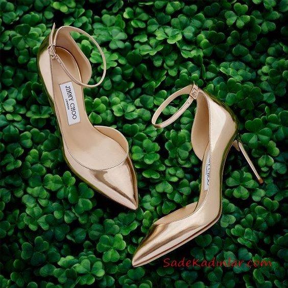 Jımmy Choo Abiye İçin Topuklu Ayakkabı GoldÖnü Kapalı Bilekten Tokalı