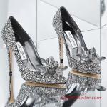 Jımmy Choo Abiye İçin Topuklu Ayakkabı Gümüş Taş Süslemeli Ön Kısmı Aksesuarlı