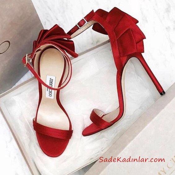 Jımmy Choo Abiye İçin Topuklu Ayakkabı Kırmızı Arka Kısmı Fırfır Süslemeli Bilekten Tokalı