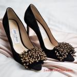 Jımmy Choo Abiye İçin Topuklu Ayakkabı Siyah Ön Kapalı Püskül Aksesuar Tokalı