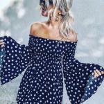 2020 Puantiyeli Elbise Modelleri Lacivert Kısa Straplez Uzun İspanyol Kol