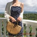 2020 Puantiyeli Elbise Modelleri Lacivert Kısa İp Askılı