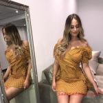2020 Puantiyeli Elbise Modelleri Sarı Kısa Straplez Kalp Yaka Kısa Kol