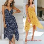 2020 Puantiyeli Elbise Modelleri Sarı Kısa İp Askılı Kalp Yaka Asimetrik Etekli