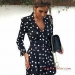 2020 Puantiyeli Elbise Modelleri Siyah Kısa V Yaka Düğmeli Uzun Kol