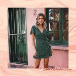2020 Puantiyeli Elbise Modelleri Yeşil Kısa v Yakalı Kısa Kol Kruvaze Etekli