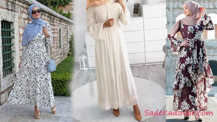 00f73cce5aaf0 Yaz Modası En Şık 2019 Tesettür Elbise Modelleri | SadeKadınlar ...