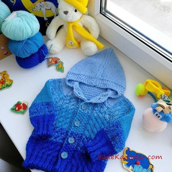 Çocuk Hırka Modelleri Mavi Kapşonlu Düğmeli Saç Örgülü