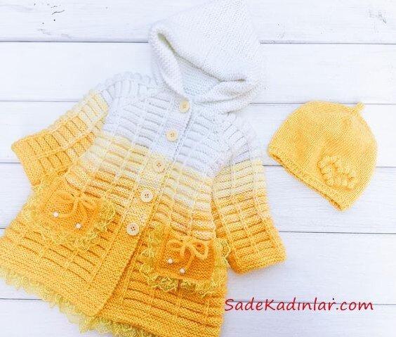 Çocuk Hırka Modelleri Sarı ve Beyaz Kapşonlu Cepli Düğmeli Fiyonklu