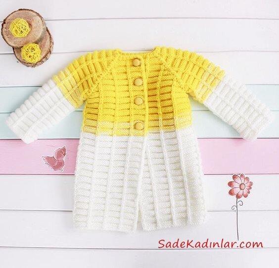 Çocuk Hırka Modelleri Sarı ve Beyaz Örnekleri Düğmeli