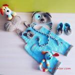 Örgü Bebek Tulum Modelleri Mavi Askılı İşlemeli Düğmeli Cepli