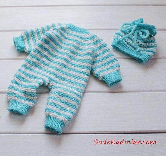Örgü Bebek Tulum Modelleri Mavi Çizgili Desenli