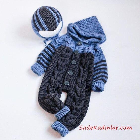 Örgü Bebek Tulum Modelleri Mavi ve Gri Kapşonlu Saç Örgülü