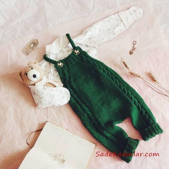 Örgü Bebek Tulum Modelleri Yeşil Askılı Düğmeli Saç Örgülü