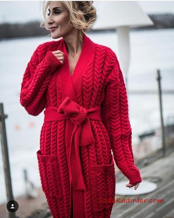 Örgü Hırka Modelleri Kırmızı Uzun Cepli Desenli Örgü Kemerli