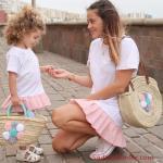 2019 Anne Kız Elbise Modelleri Beyaz Kısa Etek Kısmı Pembe Kalın Pileli Kısa Kollu