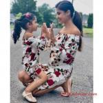 2019 Anne Kız Elbise Modelleri Beyaz Kısa Omzu Açık Uzun Kol Çiçek Desenli