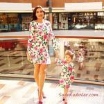 2019 Anne Kız Elbise Modelleri Beyaz Kısa Uzun Kol Çiçek Desenli