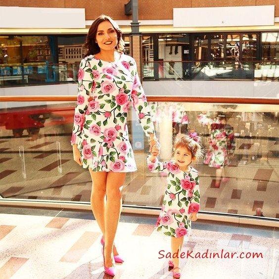 Anne Kız Elbise Modelleri Beyaz Kısa Uzun Kol Çiçek Desenli