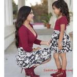 2019 Anne Kız Elbise Modelleri Bordo Kısa V Yakalı Desenli Etekli